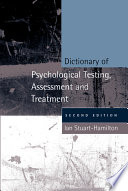 Dictionary of Psychological Testing  Assessment and Treatment Book