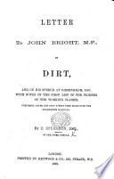 Letter To J Bright M P On Dirt And On His Speech At Birmingham 1867 Etc