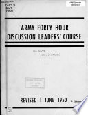 Army 40 hour Discussion Leaders  Course