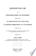 Repertorium der verhandelingen en bijdragen betreffende de geschiedenis des vaderlands