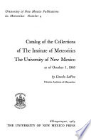 University of New Mexico Publications in Meteorites