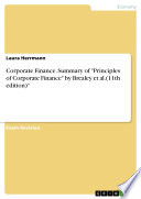 Corporate Finance  Summary of  Principles of Corporate Finance  by Brealey et al  11th edition