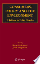 Consumers  Policy and the Environment Book