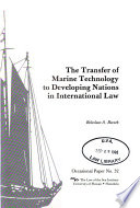 The Transfer of Marine Technology to Developing Nations in International Law