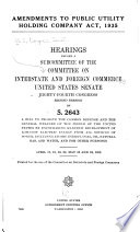 Amendments to Public Utility Holding Company Act, 1935