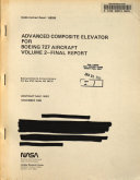 Advanced Composite Elevator For Boeing 727 Aircraft Volume 2