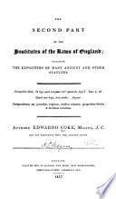 The Second Part of the Institutes of the Laws of England Pdf/ePub eBook