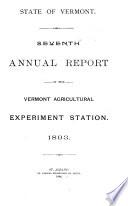 Annual Report   Vermont  Agricultural Experiment Station  Burlington