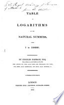 Table of Logarithms of the Natural Numbers from 1 to 108000