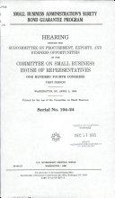 Small Business Administration s Surety Bond Guarantee Program