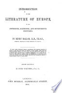 Introduction to the Literature of Europe ... Fourth edition
