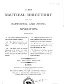 Pdf A New Nautical Directory for the East-India and China Navigation ...