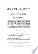 New-England Judged, by the Spirit of the Lord