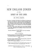 New England Judged  by the Spirit of the Lord