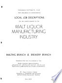 Local Job Descriptions for Two Establishments in the Malt Liquor Manufacturing Industry