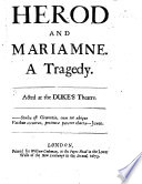 Herod And Mariamna A Tragedy In Five Acts And In Verse By S Pordage Edited By Elkanah Settle