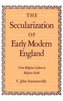The Secularization of Early Modern England Pdf/ePub eBook