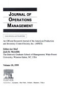 JOURNAL OF OPERATIONS MANAGEMENT Book