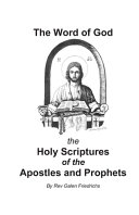 The Word of God the Holy Scriptures of the Apostles and Prophets