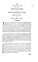 An Address to the Inhabitants of Scarborough on the Profanation of the Lord's Day. [Signed, T. H. i.e. Thomas Hindenvell.]