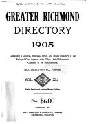 Hill s Richmond City Directory  Chesterfield and Henrico Counties  Va
