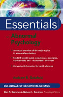 Essentials of Abnormal Psychology Pdf/ePub eBook