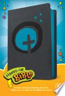 Hands On Bible NLT  Leatherlike  Dark Gray Blue Cross