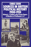 Pdf Sources in British Political History 1900–1951 Telecharger
