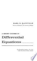 A Short Course in Differential Equations