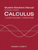 Single Variable Student Solutions Manual for Calculus