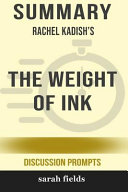 Summary  Rachel Kadish s the Weight of Ink  Discussion Prompts  Book