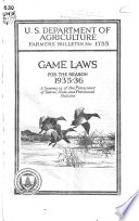 Game Laws for the Season 1935 36