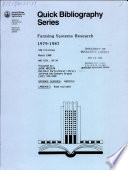 Farming Systems Research 1979 1987