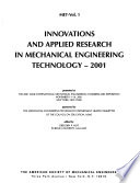 Innovations and Applied Research in Mechanical Engineering Technology--2001