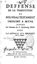 Défense de la traduction du Nouveau Testament imprimée à Mons