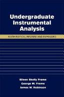 Undergraduate Instrumental Analysis  Sixth Edition