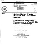 Environmental and Societal Consequences of a Possible CO p2 s induced Climate Change  s induced climate warming