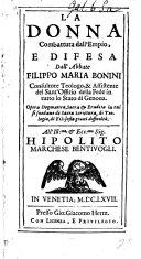 La Donna combattuta dall empio  e difesa dall abbate F  M  Bonini  etc