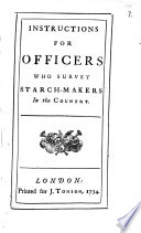 Instructions for Officers who Survey Starch-makers in the Country