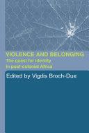 Pdf Violence and Belonging Telecharger
