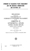 Oversight of Hazardous Waste Management and the Resource Conservation and Recovery Act