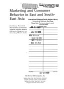Marketing And Consumer Behavior In East And South East Asia Book PDF