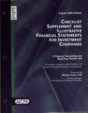 Checklist Supplement and Illustrative Financial Statements for Investment Companies Book