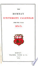 the bombay university calander for the year 1874-75