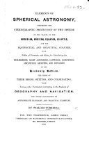 Elements of Spherical Astronomy