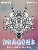 Zen Doodle Coloring Big Picture Animals Dragons Book PDF