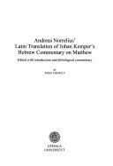 Andreas Norrelius Latin Translation Of Johan Kemper S Hebrew Commentary On Matthew