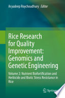 Rice Research for Quality Improvement  Genomics and Genetic Engineering Book