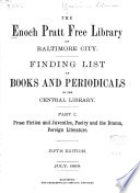 Finding List of Books and Periodicals in the Central Library ...