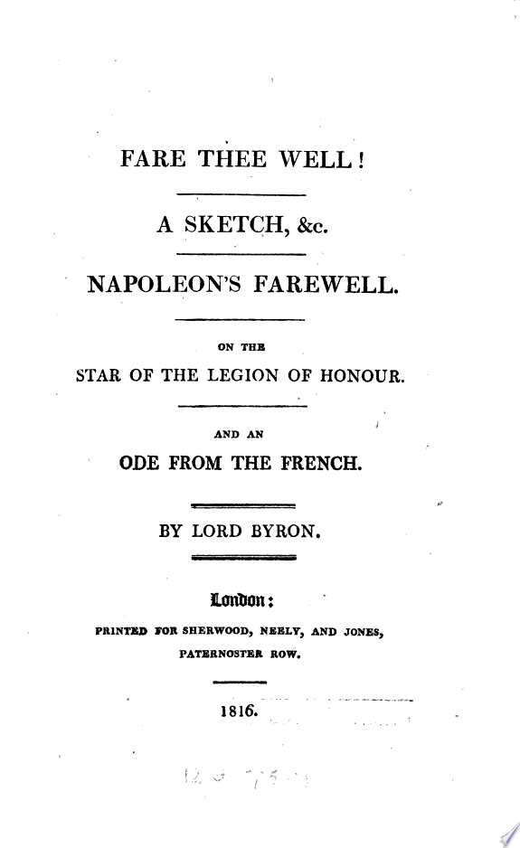 Fare thee well  A sketch  c   Napoleon s farewell   c